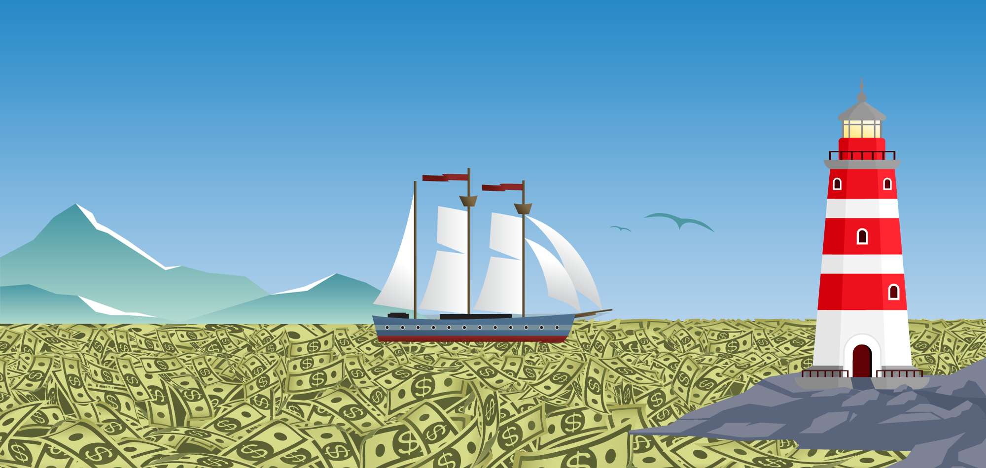 Ship on a sea of cash with a lighthouse